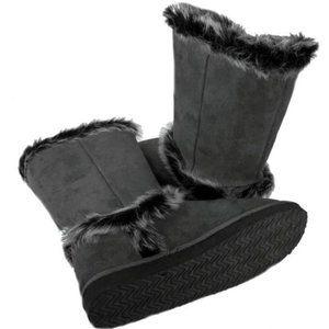 Fur Trim Mid-calf Eskimo Flat Suede Boot